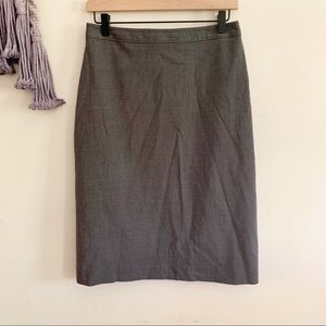 J. Crew • gray pencil midi career skirt zip up